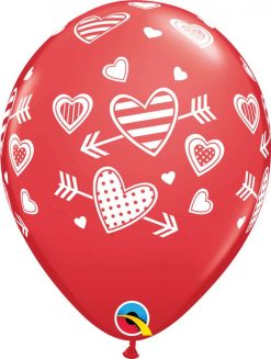 """11"""" / 28cm Patterned Hearts & Arrows Red Qualatex #57057-1"""