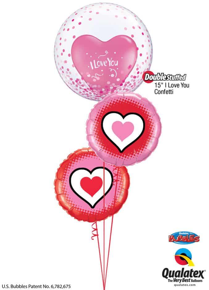 Bukiet 800 Pink Confetti Hearts Qualatex #57790 24020-1 78545-2
