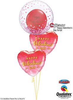 "Bukiet 773 Pink Confetti ""Happy Valentine's Day!"" Qualatex #57790 48203-2 78539-2"