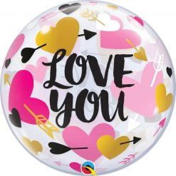 22″ / 56cm Love You Hearts & Arrows Qualatex #78457