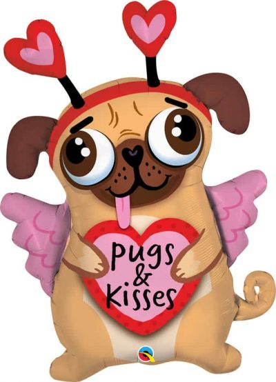36″ / 91cm Pugs & Kisses Qualatex #78533