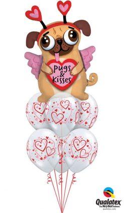 Bukiet 786 Pugs & Kisses Hearts Qualatex #78533 40295-6