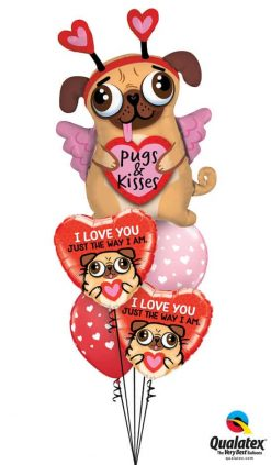 Bukiet 830 Pugs & Kisses Puppy Love Qualatex #78533 78551-2 85713-2