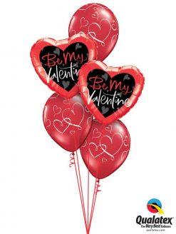 """Bukiet 785 """"Be Mine"""" Valentine Hearts Qualatex #78537-2 40862-3"""