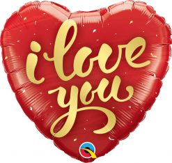 "18"" / 46cm I Love You Gold Script Qualatex #78541"