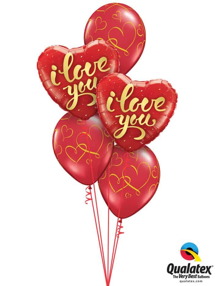"Bukiet 790 Gold Script ""I Love You"" Qualatex #78541-2 40862-3 43790-3"