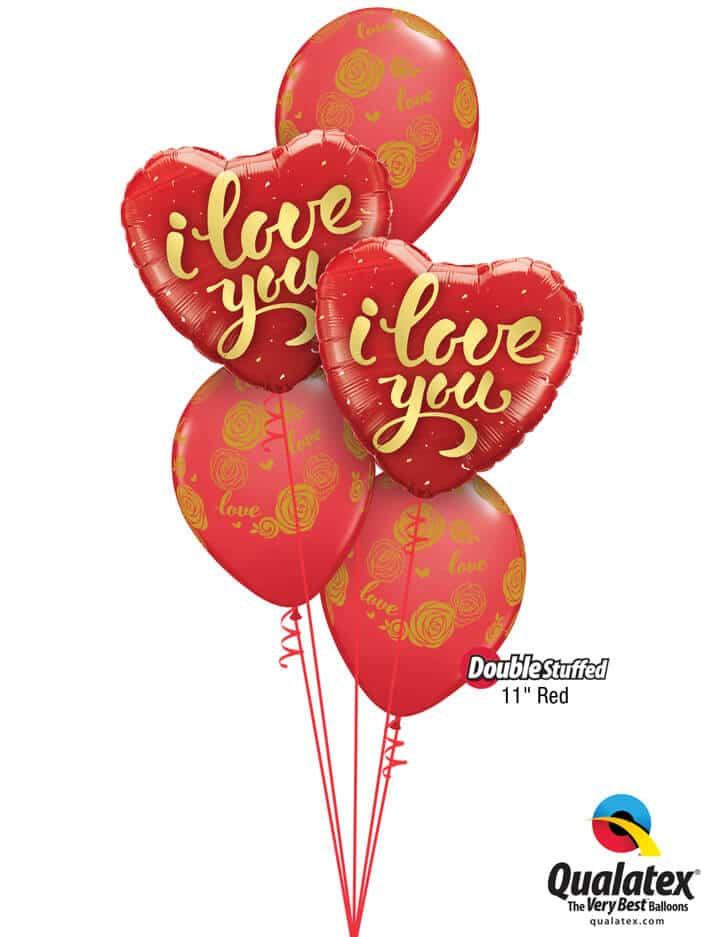 """Bukiet 788 """"I Love You"""" Gold Roses Qualatex #78541-2 57056-3 43790-3"""