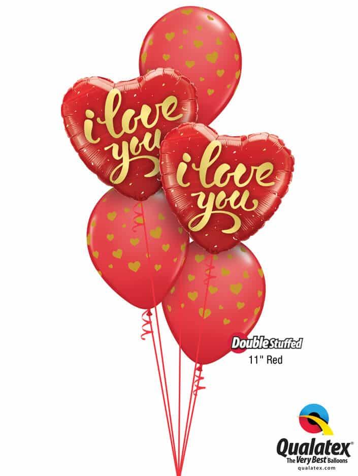 "Bukiet 789 ""I Love You"" Gold Hearts Qualatex #78541-2 85706-3 43790-3"