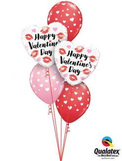 "Bukiet 783 ""Happy Valentine's Day"" Hearts & Kisses Qualatex #78547-2 85713-3"