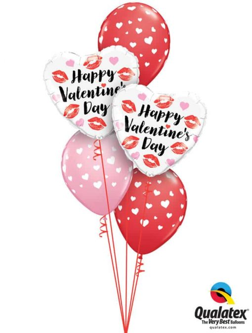 "Bukiet 783 ""Happy Valentine's Day"" Hearts & Kisses Qualatex #78547-2 85713-3"