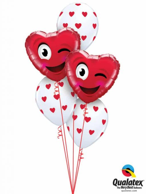 "Bukiet 792 ""Smiley Wink Heart"" Red & White Qualatex #78549-2 76928-3"