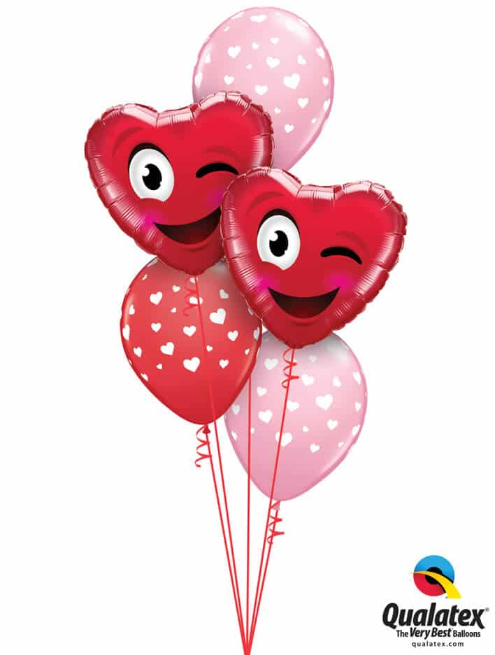 "Bukiet 793 ""Smiley Wink Heart"" Pink & Red Qualatex #78549-2 85713-3"