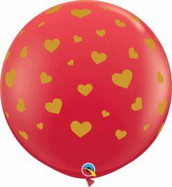 3′ / 91cm Random Hearts-A-Round Red Qualatex #80001-1