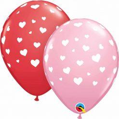 "11"" / 28cm Random Hearts-A-Round Asst of Red, Pink Qualatex #85713-1"