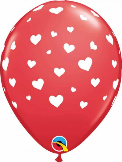 "11"" / 28cm 6szt Random Hearts-A-Round Red Qualatex #85727"