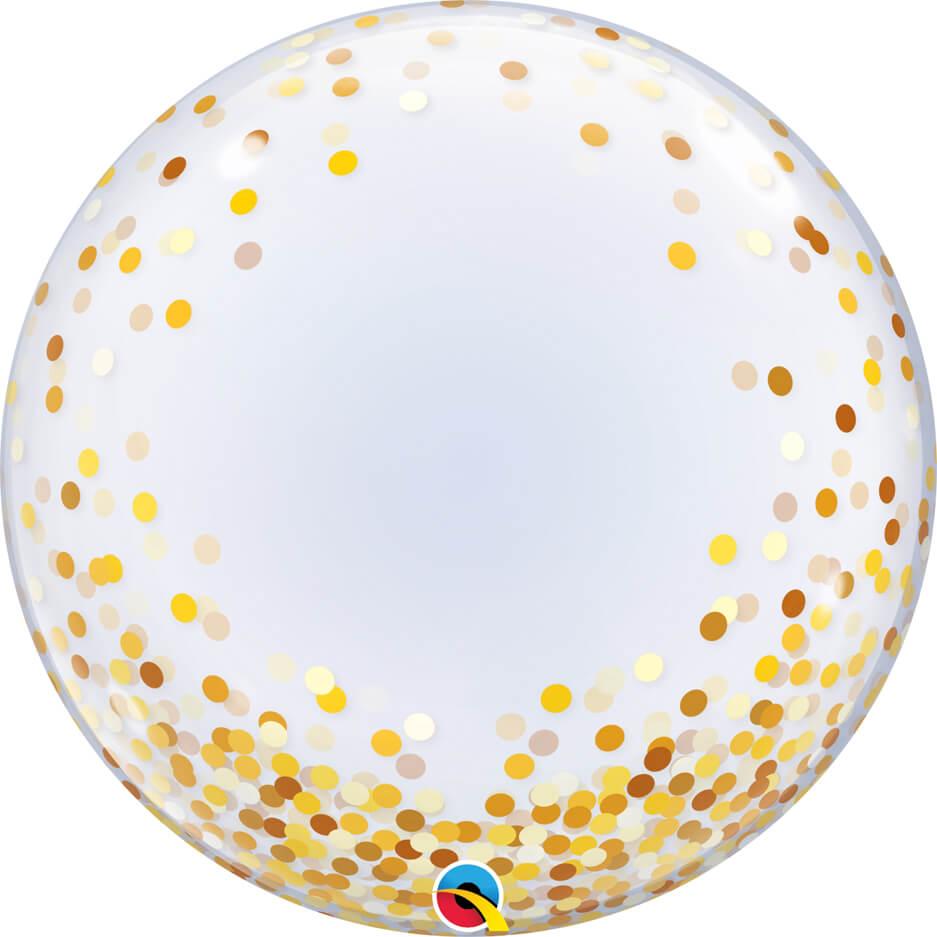24″ / 61cm Deco Bubble Gold Confetti Dots Qualatex #89727