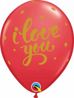 "11"" / 28cm I Love You Bold Script Red Qualatex #90956-1"