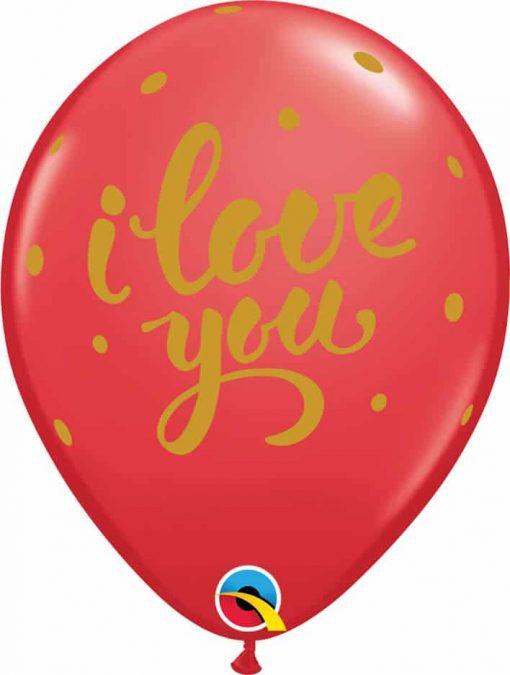 """11"""" / 28cm I Love You Bold Script Red Qualatex #90956-1"""