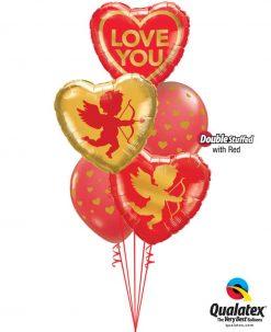 Bukiet 857 Cupid's Cutest Valentine! Qualatex #97168 97152-2 85706-3 43790-3