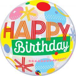 "22"" / 56cm Birthday Circles & Dot Stripes Qualatex #10063"