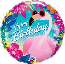 "18"" / 46cm Birthday Tropical Flamingo Qualatex #10220"