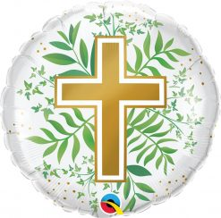18″ / 46cm Golden Cross & Greenery Qualatex #10256