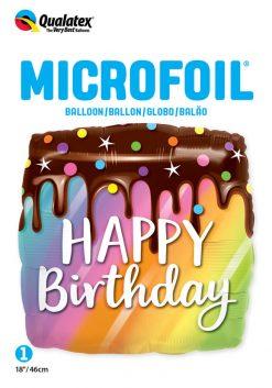18″ / 46cm Birthday Rainbow Drip Cake Qualatex #10485