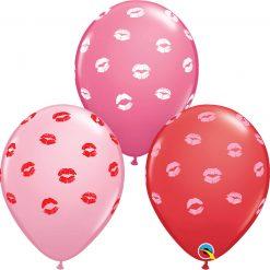 """11"""" / 28cm 6szt Kissey Lips Asst of Red, Pink, Rose Qualatex #10627"""