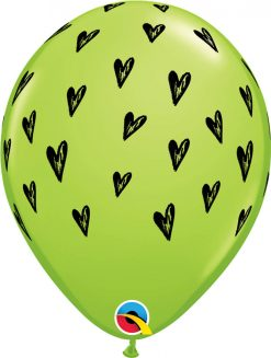 """11"""" / 28cm Prickly Heart Seeds Lime Green Qualatex #10643-1"""