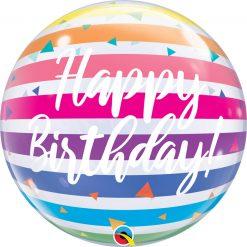 "22"" / 56cm Birthday Bright Rainbow Stripes Qualatex #13037"