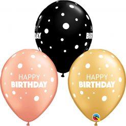 "11"" / 28cm Birthday Big & Little Dots Asst of Gold, Onyx Black, Rose Gold Qualatex #13242-1"