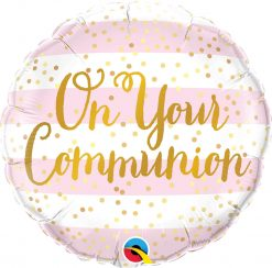18″ / 46cm On Your Communion Pink Stripes Qualatex #13439