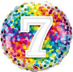 "18"" / 46cm 7 Rainbow Confetti Qualatex #13496"
