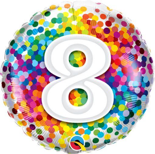 "18"" / 46cm 8 Rainbow Confetti Qualatex #13505"