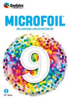 "18"" / 46cm 9 Rainbow Confetti Qualatex #13509"