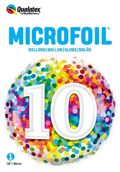 "18"" / 46cm 10 Rainbow Confetti Qualatex #13513"