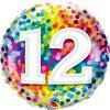 "18"" / 46cm 12 Rainbow Confetti Qualatex #13522"