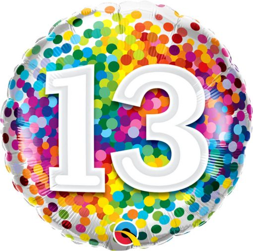 "18"" / 46cm 13 Rainbow Confetti Qualatex #13529"