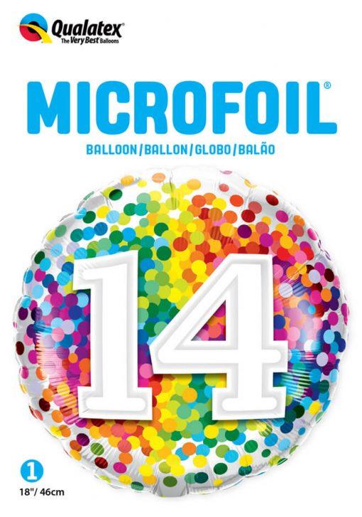 "18"" / 46cm 14 Rainbow Confetti Qualatex #13535"