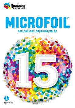 "18"" / 46cm 15 Rainbow Confetti Qualatex #13562"