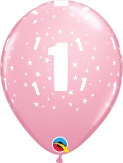 """11"""" / 28cm 6szt Stars #1-A-Round Pink Qualatex #17821"""