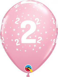 """11"""" / 28cm 6szt Stars #2-A-Round Pink Qualatex #17825"""