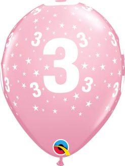 """11"""" / 28cm 6szt Stars #3-A-Round Pink Qualatex #17831"""