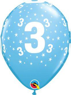 "11"" / 28cm 6szt Stars #3-A-Round Pale Blue Qualatex #17832"