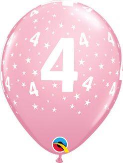 """11"""" / 28cm 6szt Stars #4-A-Round Pink Qualatex #17835"""