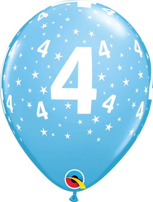 "11"" / 28cm 6szt Stars #4-A-Round Pale Blue Qualatex #17840"