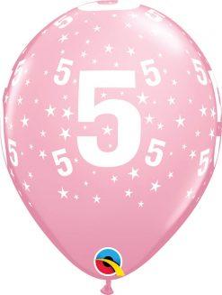 """11"""" / 28cm 6szt Stars #5-A-Round Pink Qualatex #17842"""
