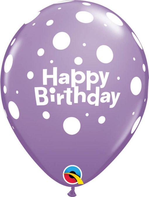 """11"""" / 28cm 6szt Birthday Big Polka Dots Retail Asst Qualatex #17919"""