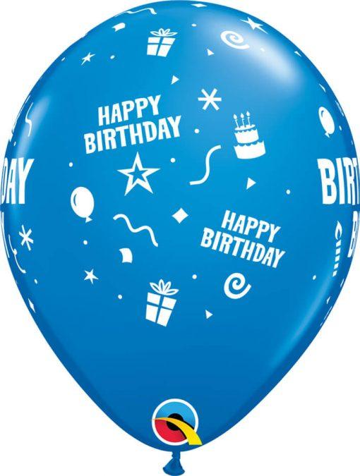 """11"""" / 28cm 6szt Birthday Boy Dark Blue Qualatex #17920"""