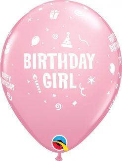 """11"""" / 28cm 6szt Birthday Girl Pink Qualatex #17921"""